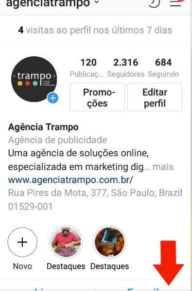 Senha do instagram